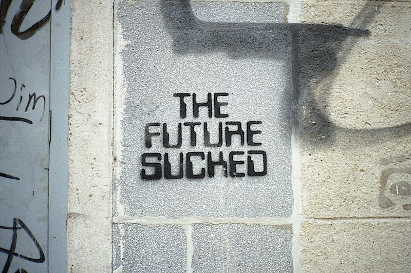 the future sucked graffiti stencil found in the lower east side of NYC