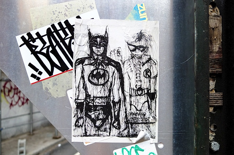 a batman and robin sticker found in SoHo, NYC